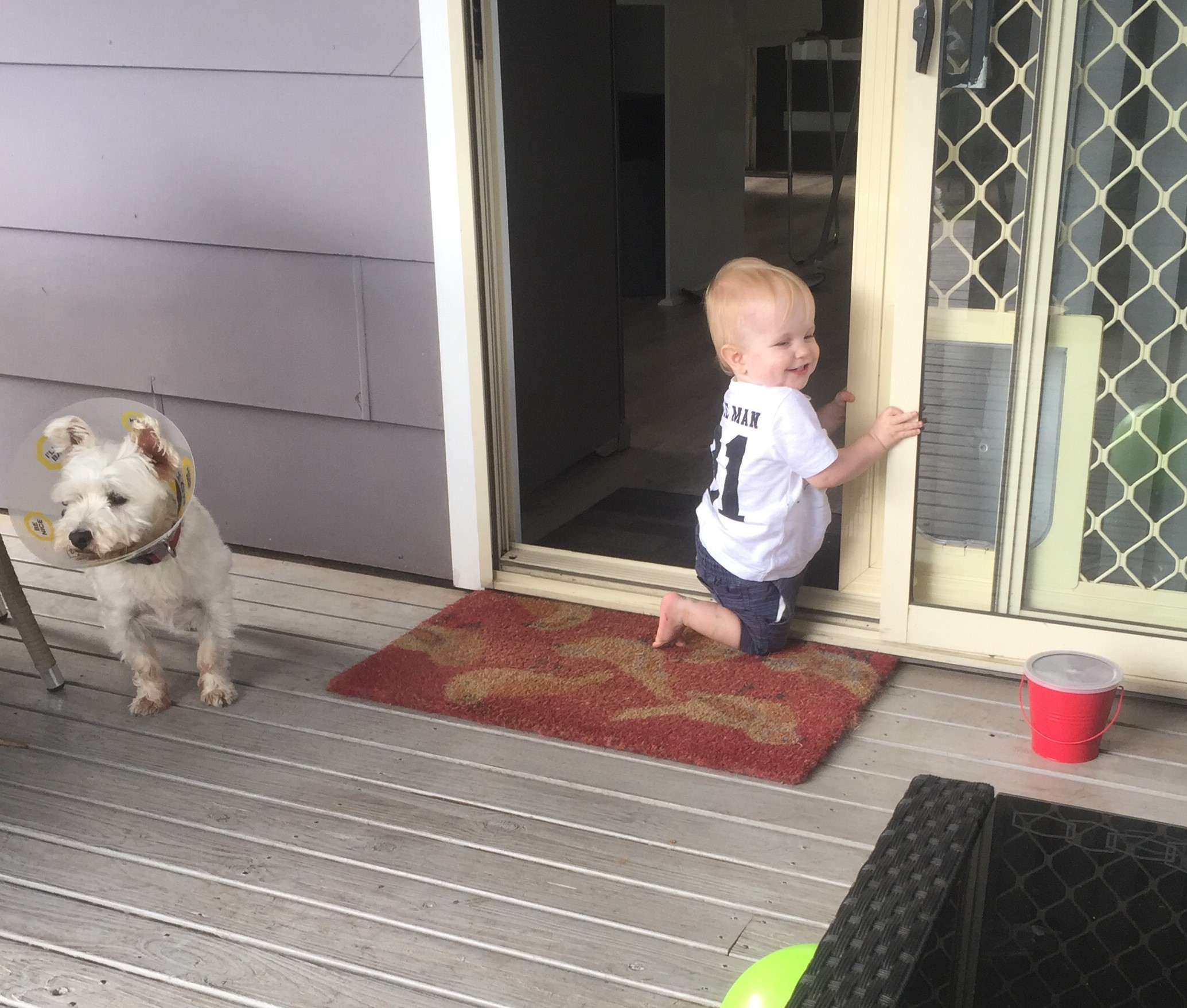 Toddler playing with a door on his weekend getaway.